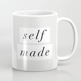 Self Made modern black and white minimalist typography home room wall decor black-white letters Coffee Mug