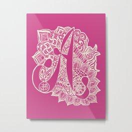 A Zentangled doodle in pink Metal Print