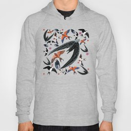 Swallows Martins and Swift pattern Turquoise Hoody