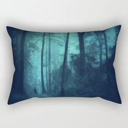 Light in a cyan forest Rectangular Pillow