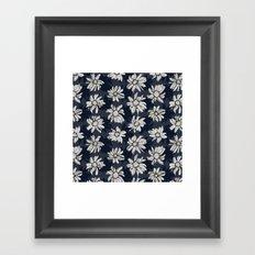 Black and Blue Flowers Framed Art Print
