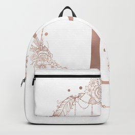 Letter P Rose Gold Pink Initial Monogram Backpack
