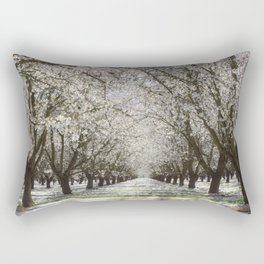 White Cherry Blossom Tree Tunnel Rectangular Pillow