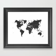 black and white World Map Framed Art Print