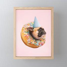 Dog Party Donut Framed Mini Art Print