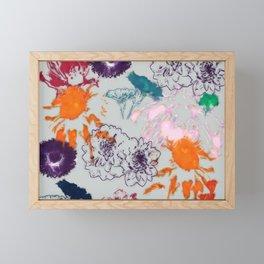 fall floral gray Framed Mini Art Print