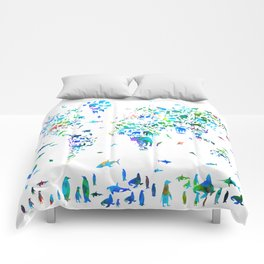world map animals collage Comforters
