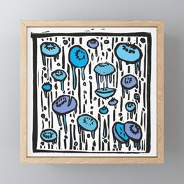 Blueberry Rain - Linoprint Framed Mini Art Print