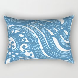 Stencil with Pattern of Waves,19th century Japan (Edited Blue) Rectangular Pillow