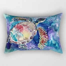 Sea Turtle underwater, beach deep blue barine blue turtle beach style design Rectangular Pillow
