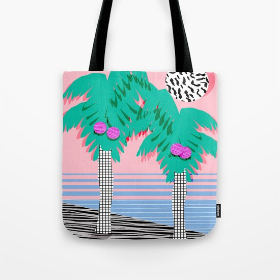 Most Definitely - palm tree throwback memphis style retro art print 80s 1980 neon  palm springs Tote Bag