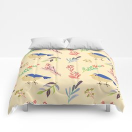 Cute hand painted blue coral ivory bird floral pattern Comforters