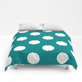 Large Polka Dots - White on Dark Cyan Comforters