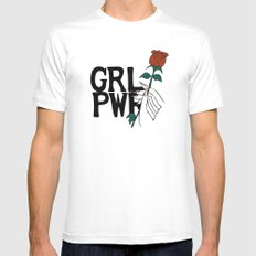 GRL PWR Rose White Mens Fitted Tee MEDIUM