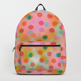 Tie Dye Smiley Face Stamp Print Backpack