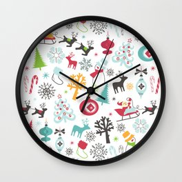 Retro Santa Holiday Christmas Pattern Wall Clock