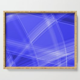 Light strokes with blue diagonal lines from intersecting glowing bright energy waves. Serving Tray