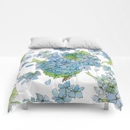 Blue Hydrangea Watercolor Comforters