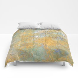 gold arabesque vintage geometric pattern Comforters