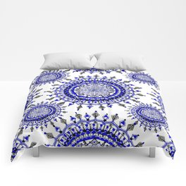 Royal Blue Winter/Holiday Snowflake Mandala Textile Comforters