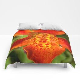 Orange spotted wildflower 97 Comforters