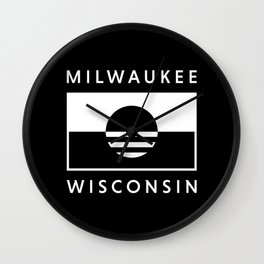 Milwaukee Wisconsin - Black - People's Flag of Milwaukee Wall Clock