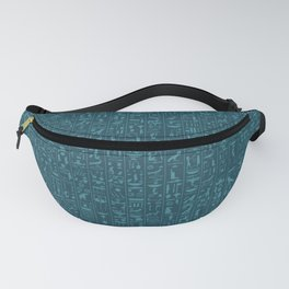 Hieroglyphics Moonstone BLUE / Ancient Egyptian hieroglyphics pattern Fanny Pack
