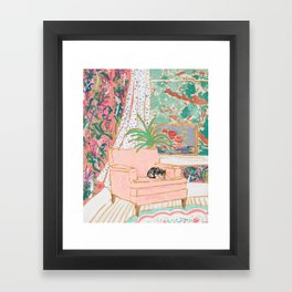 Catnap - Tuxedo Cat Napping in Chair by the Window Framed Art Print
