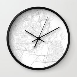 Copenhagen, Denmark Minimalist Map Wall Clock