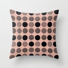 old pink circles Throw Pillow
