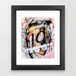 Lightning Soul: a vibrant colorful abstract acrylic, ink, and spray paint in gold, black, pink Framed Art Print