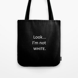 white: black Tote Bag