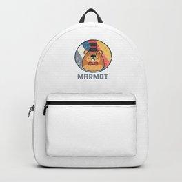 Vintage Cute Wildlife Marmot Colorful Retro Animals Backpack