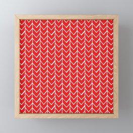Herringbone Red Framed Mini Art Print