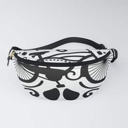 Vintage Mexican Skull with Bicycle - black and white Fanny Pack