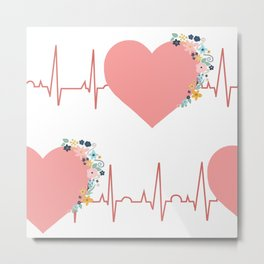 Flower ECG Hearts Metal Print