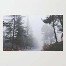 Dream forest. Square. Into the foggy woods Rug