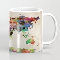 map of the world Mugs featuring World Map Urban Watercolor by artPause