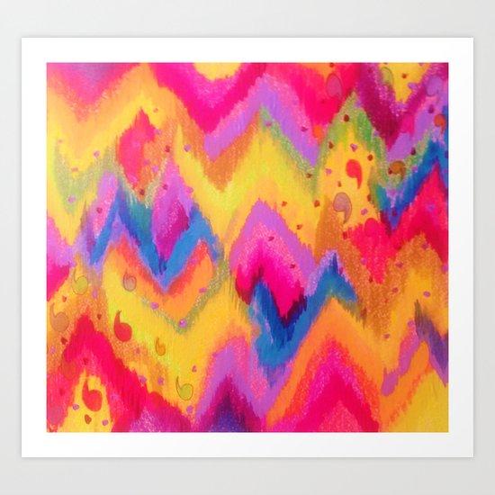 BOLD QUOTATION - Bright Vibrant Neon Quote Chevron Pattern Ikat Rainbow Trendy Design Fun Art Art Print