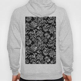 Black & Silver Vintage Floral Damasks Pattern Hoody