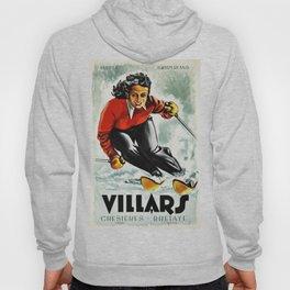Vintage Villars Switzerland Ski Travel Poster Hoody