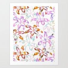 Aztec Sunrise Floral - White Art Print