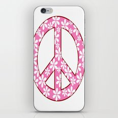 Peace Sign With Flowers In Pink iPhone & iPod Skin