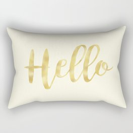 Hello in Golden Yellow on Cream Rectangular Pillow