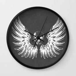 Grey & White Rock Angel Wings Skull Wall Clock