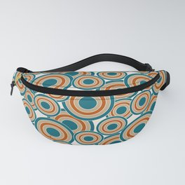 Modern Overlapping Circles in Teal, Tan, Burnt Orange Fanny Pack