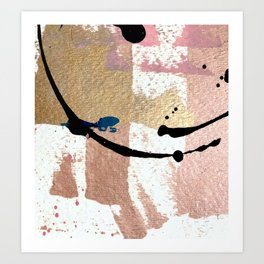 01014: pink, gold, and white abstract Art Print
