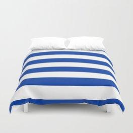 Dark Princess Blue and White Wide Horizontal Cabana Tent Stripe Duvet Cover