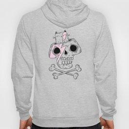 Fun cat and skull illustration Hoody