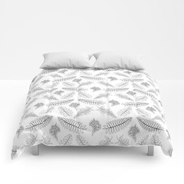 Black and White Fern Illustrated Print Comforters